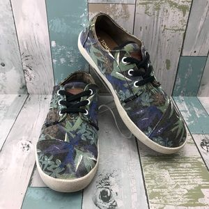 TOMS Tropical Canvas Lace Up Sneakers Men's 8.5